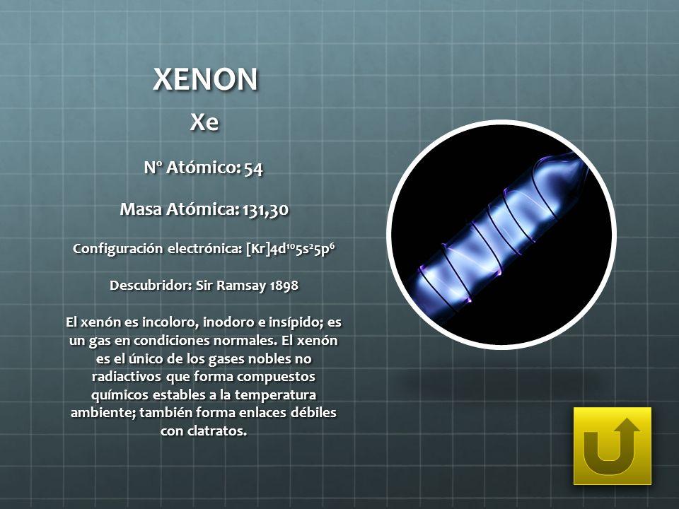 Configuración electrónica: [Kr]4d105s25p6 Descubridor: Sir Ramsay 1898